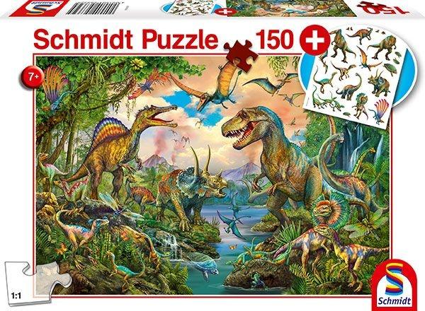 Schmidt Spiele Puzzle Wilde Dinos inkl. Dinosaurier Tattoos