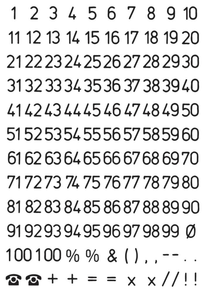 Etiketten Zahlen 1-100