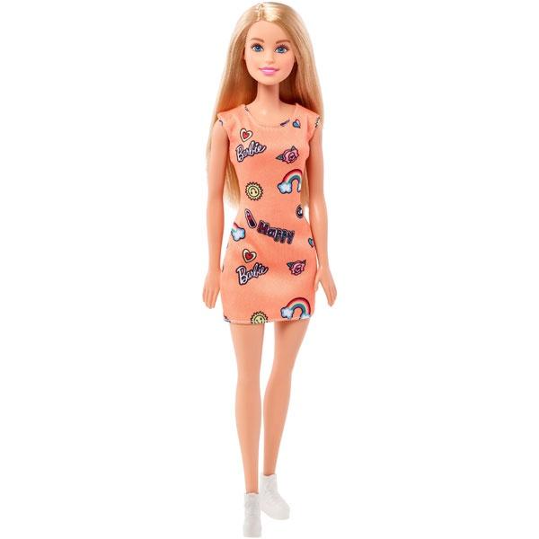 Barbie Puppe Chic, blond im orangen Kleid mit Prints