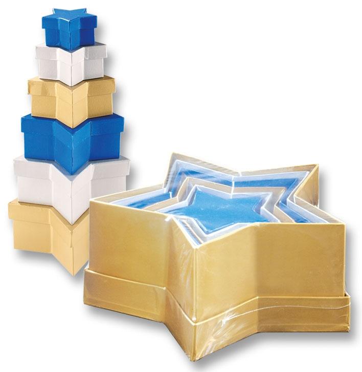Folia Geschenkboxen Stern 6 Stück