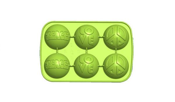 6er Silikonform Motiv Peace, grün