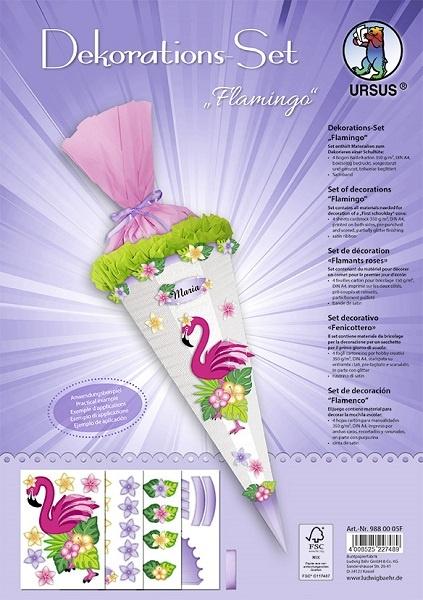 Bastelset Dekorations-Set für Schultüte Flamingo