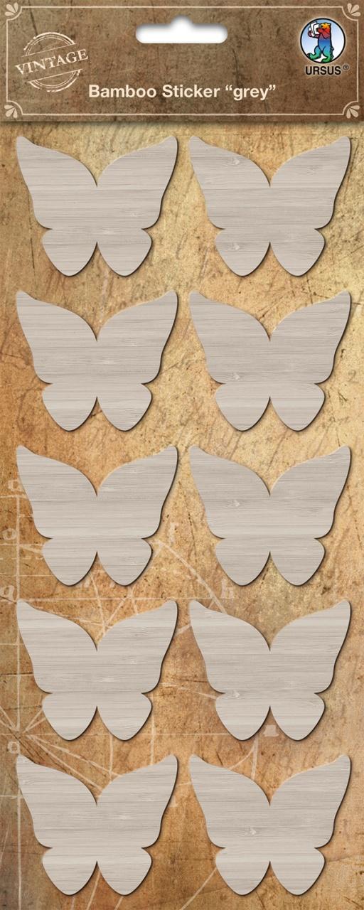 Bambus Sticker grey Schmetterling