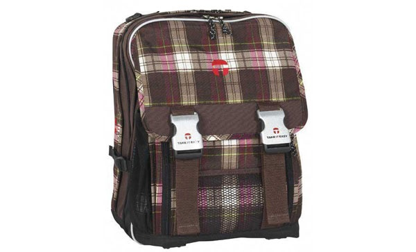 Take it Easy Plaid braun/pink Schulrucksack eckig