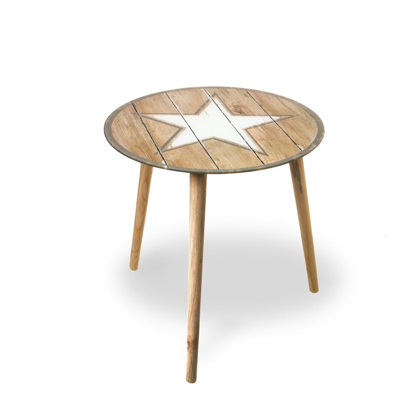 Beistelltisch Stern Glastisch mit Holzbeinen 40 cm