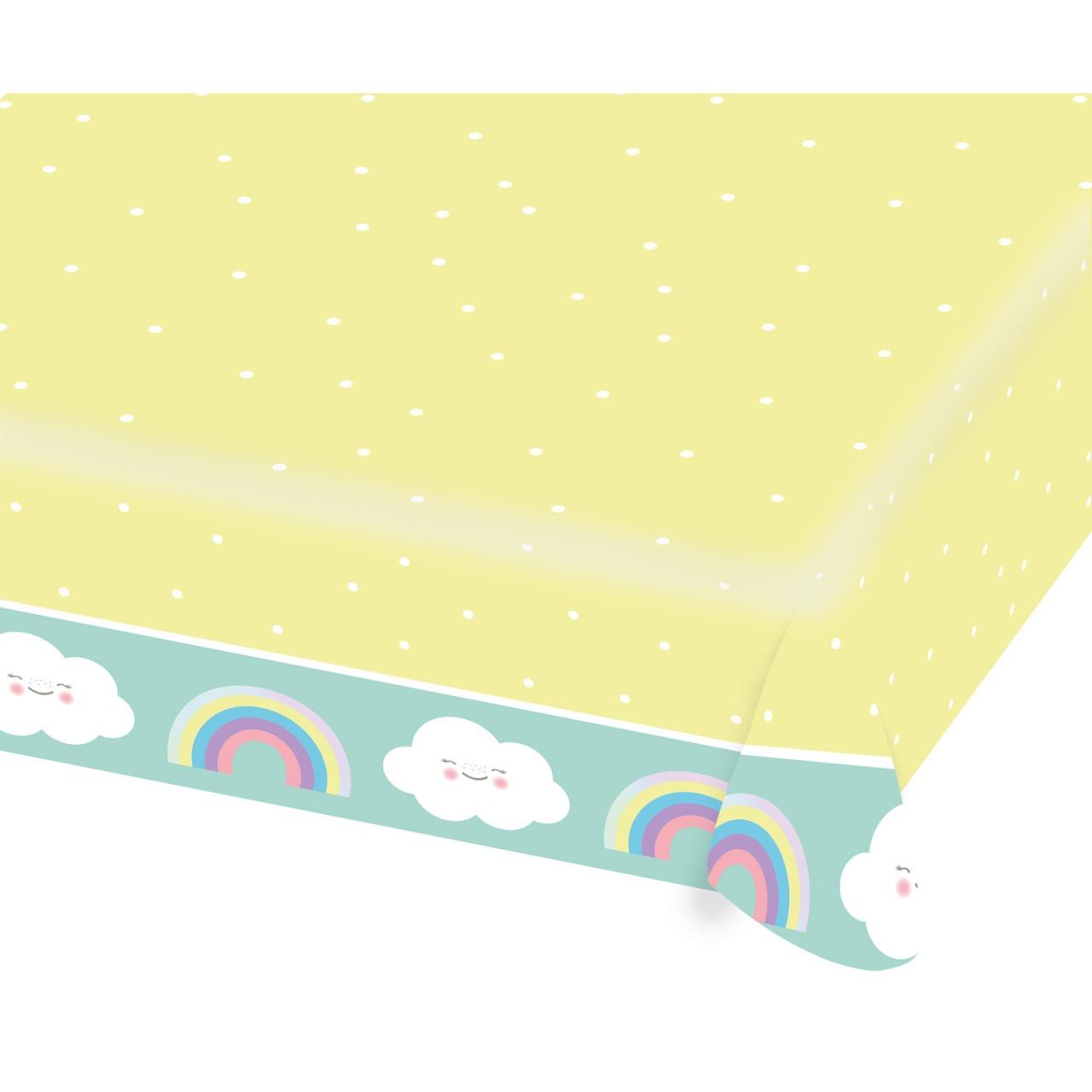 Papiertischdecke Regenbogen und Wolke 1,15 x 1,75 m