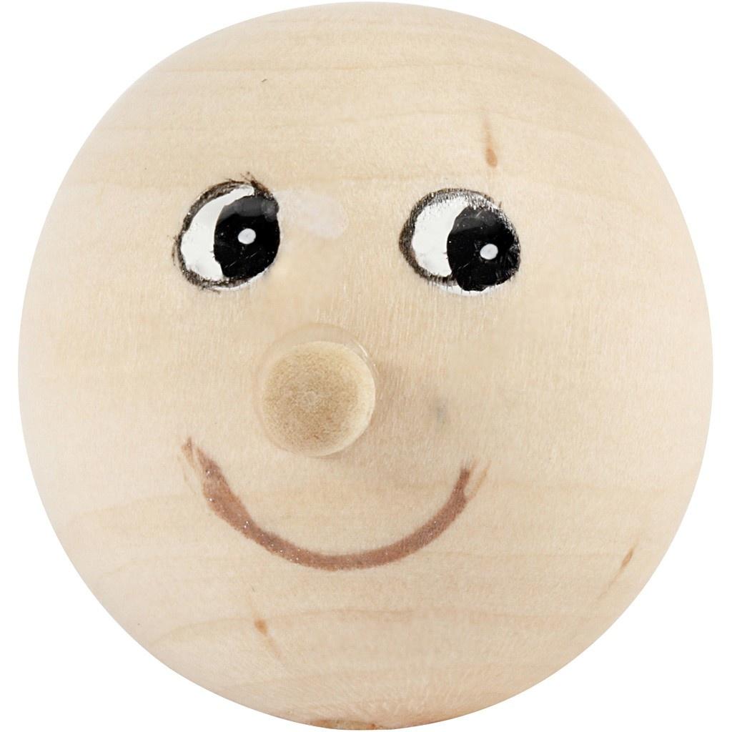 Holzkopf mit Gesicht D: 23 mm, 4 Stück