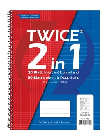 Collegeblock Twice 2 in 1 A4 80 Blatt