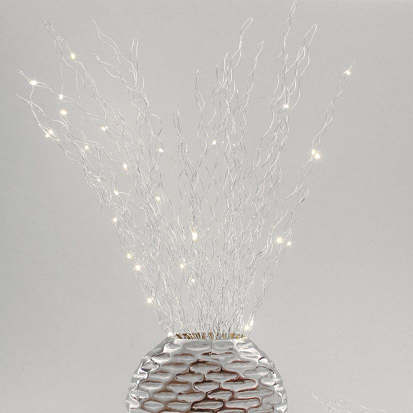 Lichtdekoration Zweige silber 35 LED beleuchtet  80 cm