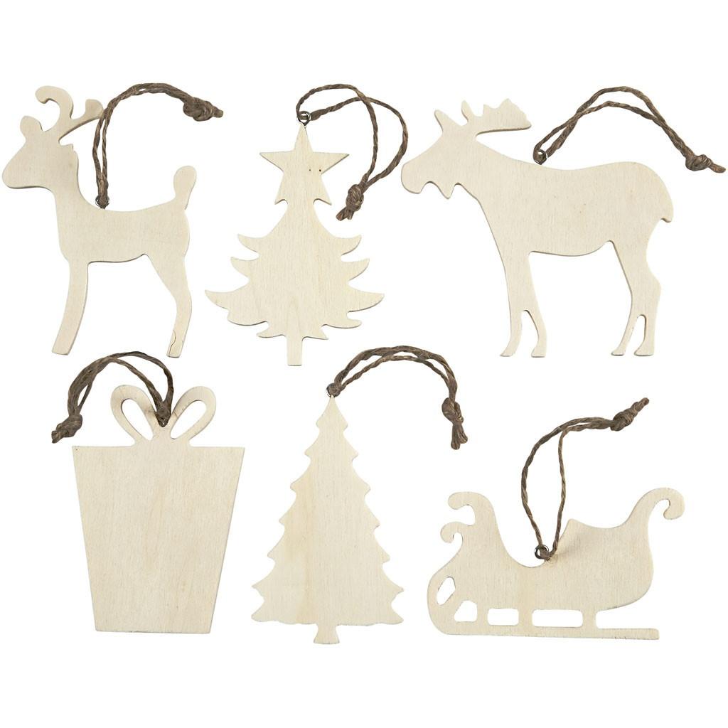 Bastelmaterial Weihnachtsaufhänger 6 Stück aus Holz