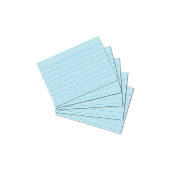 Karteikarten A8 blau liniert 100 Stück