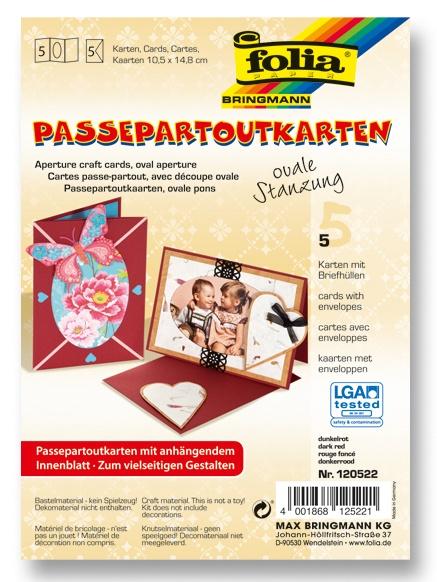 Folia Passepartoutkarten ovale Stanzung mit Umschlag