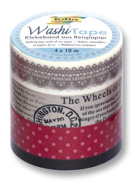 Folia Washi Tape Klebeband Vintage 4 Stück