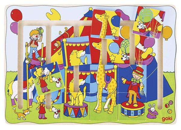 Schiebepuzzle Zirkusvorstellung Holz