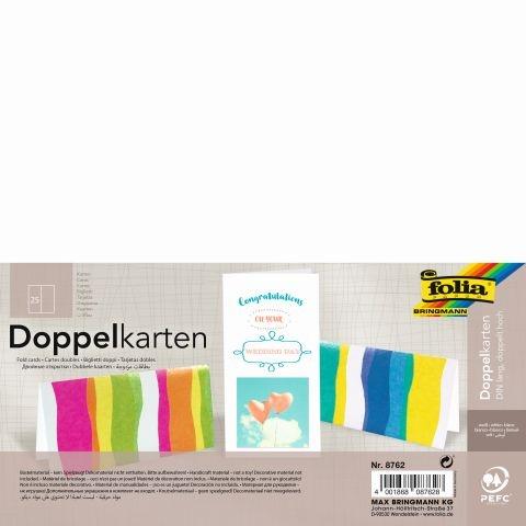 Folia Briefkarten DIN lang hoch doppelt 25 Stück doppelt