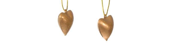 Christbaumschmuck 6 Herzen in gold