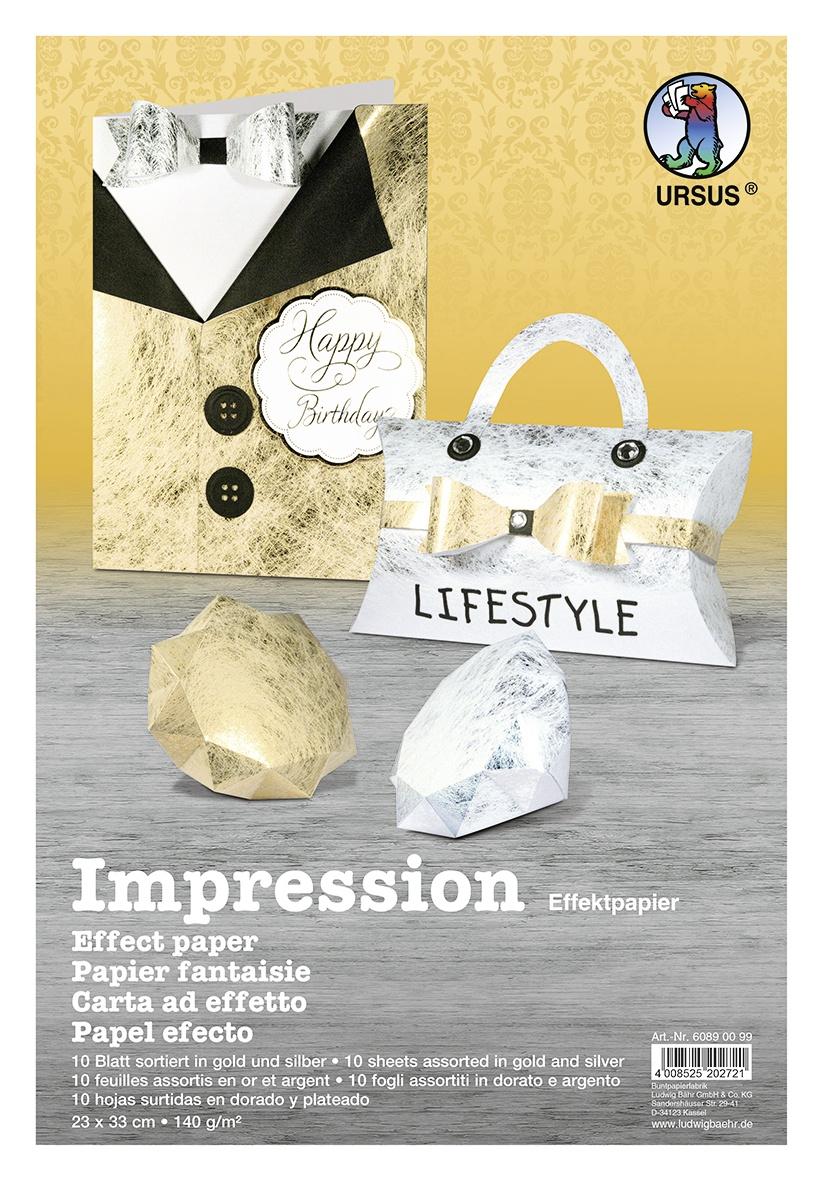 Bastelpapier Impression Effektpapier gold/silber