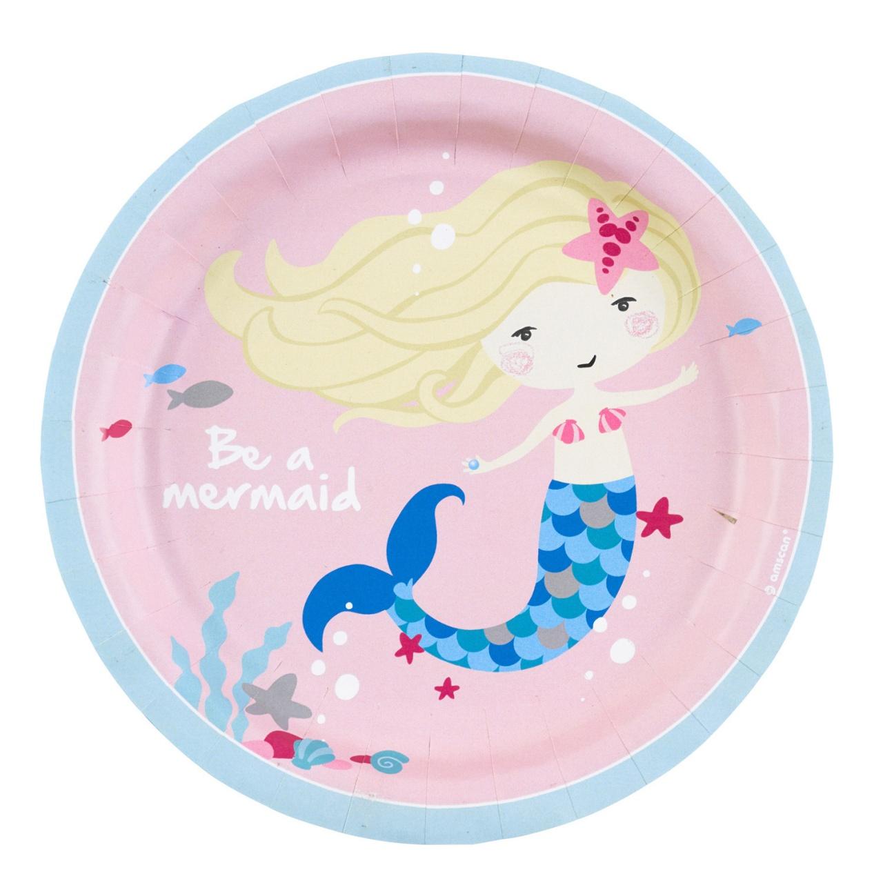 Partyteller Mermaid 8 Stück 18 cm