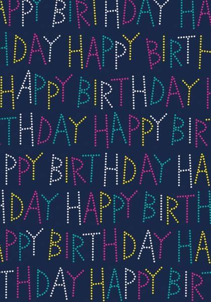 Geschenkpapier-Rolle Happy Birthday Karim blau 150 x 70 cm