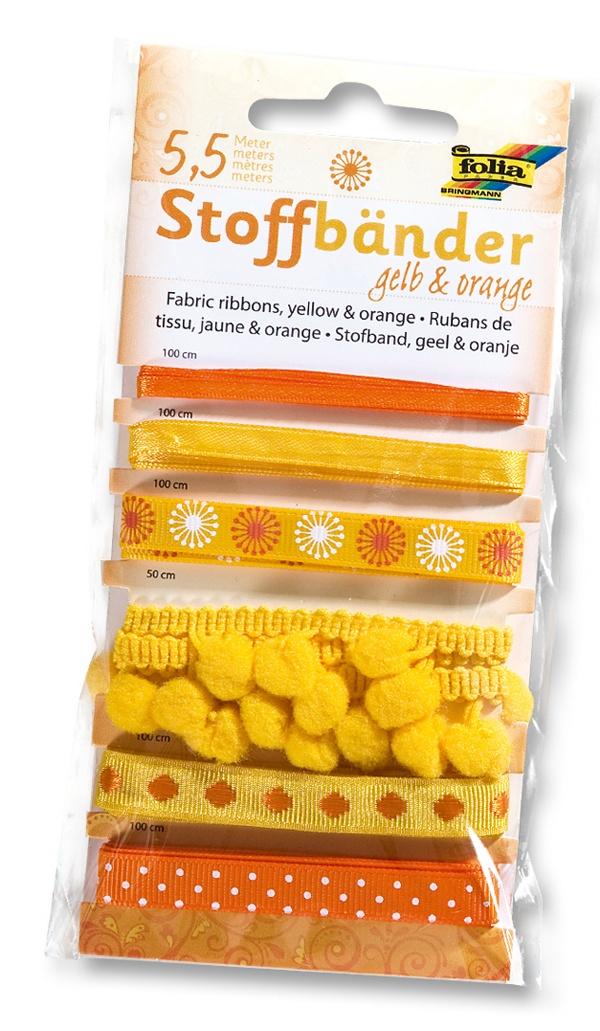 Folia Stoffbänder 6 Stück gelb-orange