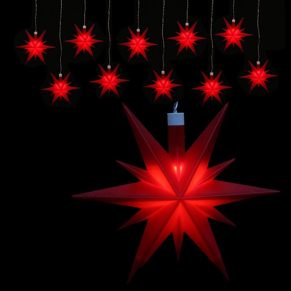 Weihachtsstern beleuchtet 10er-Lichterkette wetterfest rot