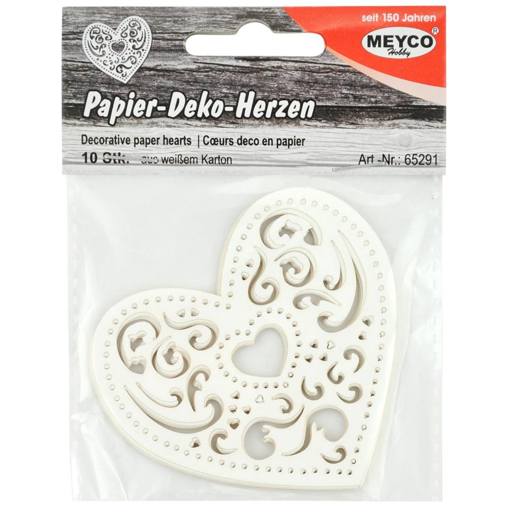 Papier-Deko-Herzen 10 Stück