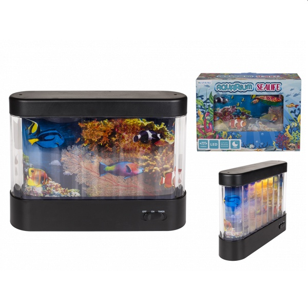 Aquarium Sea Life mit LED 30x8 cm
