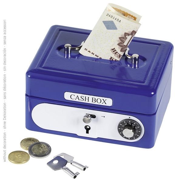 Geldkassette mit Kombinationsschloss blau