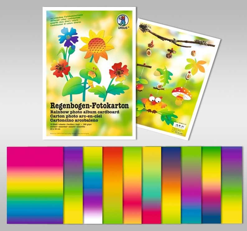 Bastelmappe Fotokarton Regenbogen