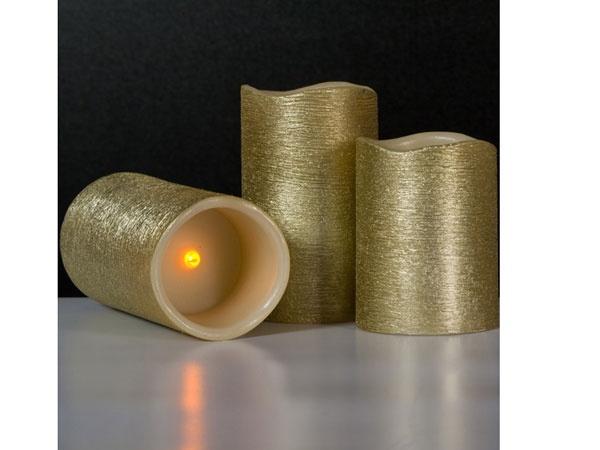 LED-Kerzen-Set 3 Stück in gold