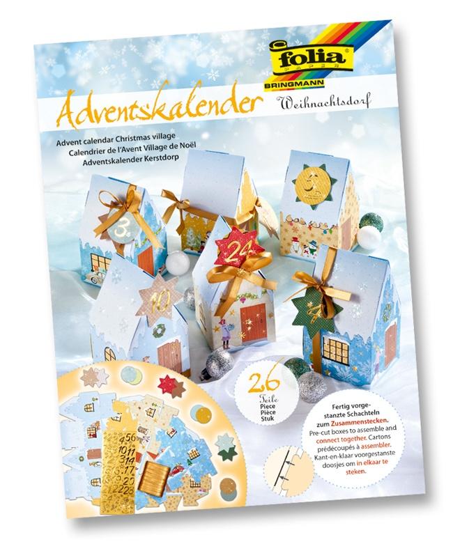 Folia Adventskalender Weihnachtsdorf zum Basteln