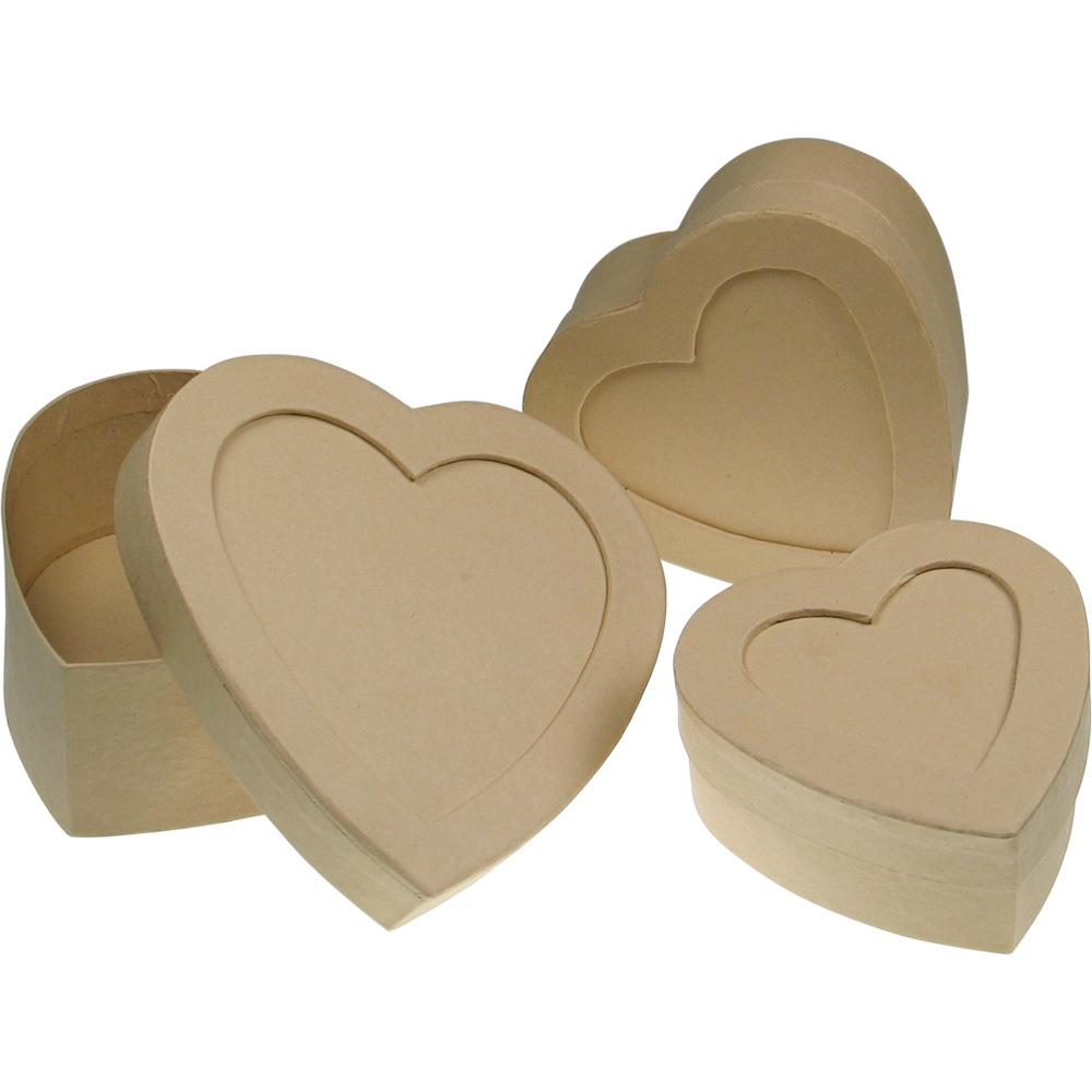 Papp-Dose Herz mit Fenster 3 Stück