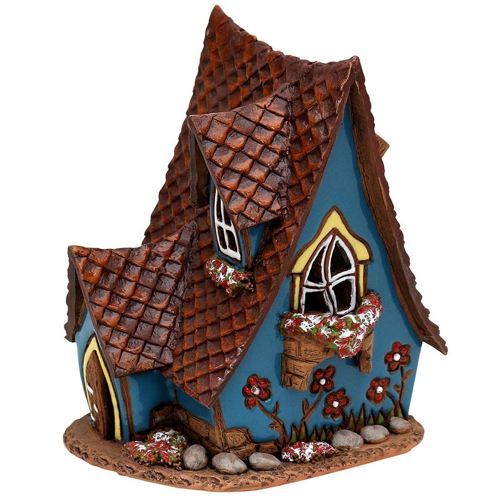 Keramik Lichthaus und Duftölhaus mit Schornstein 13,5 cm