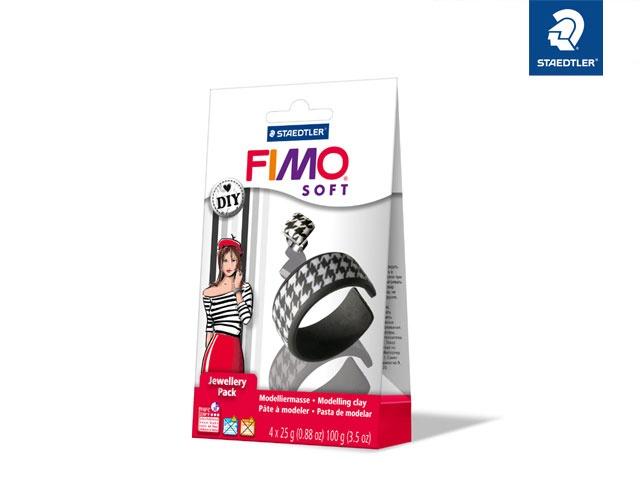 Fimo soft Jewellery Set schwarz & weiß