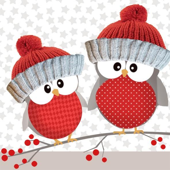 Servietten Weihnachten Owl Brothers rot