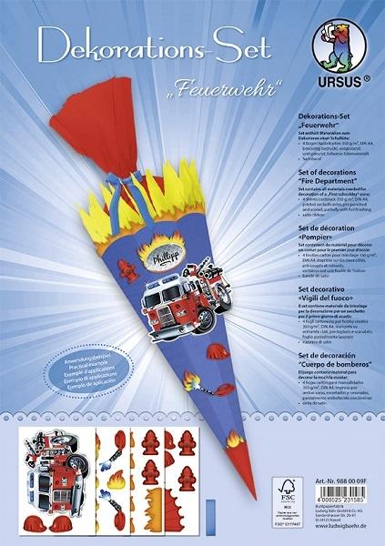 Bastelset Dekorations-Set für Schultüte Feuerwehr