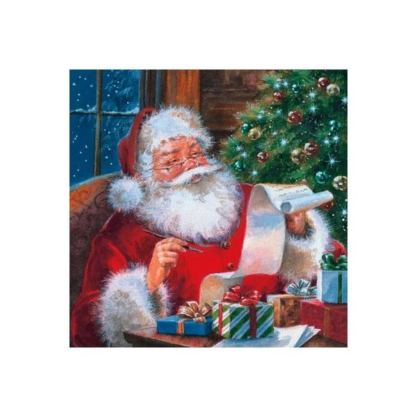 Servietten Weihnachten Santa Claus checking Wishlist