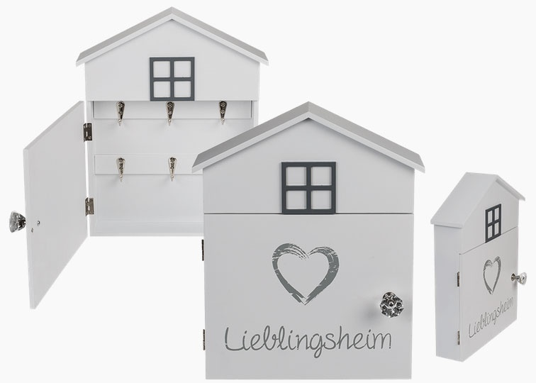 Schlüsselkasten Lieblingsheim weiß Holz ca. 24x29 cm