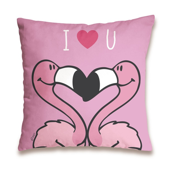 Nici Baumwollkissen Flamingo I love you