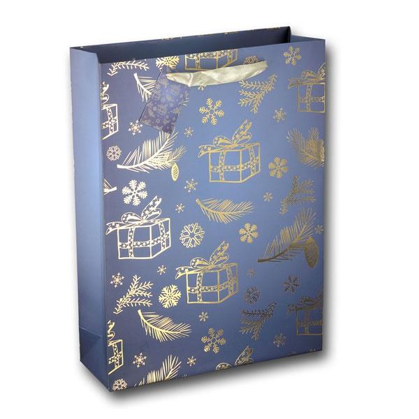 Papiertüte Geschenke blau gold 25x8,5x34,5cm