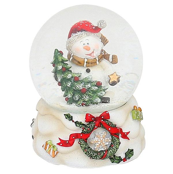 Schneekugel Schneemann mit Mütze 10 cm