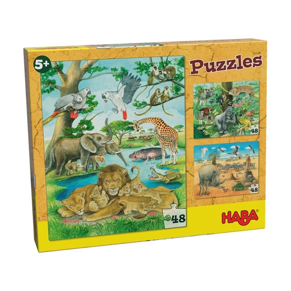 Haba 303348 Puzzles Wilde Tiere in Afrika 3x48 Teile