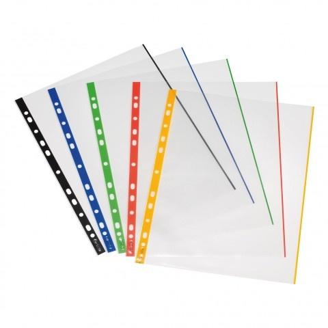 Herlitz Prospekthülle A4 glasklar 10 Stück mit farbigen Rand