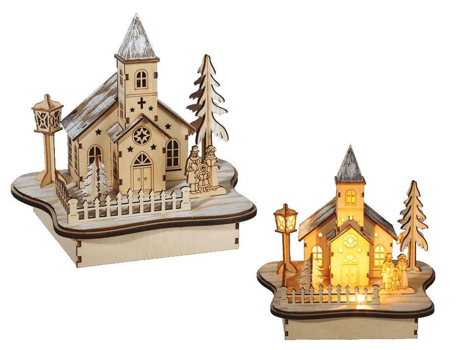 Winterlandschaft mit Kirche und Beleuchtung