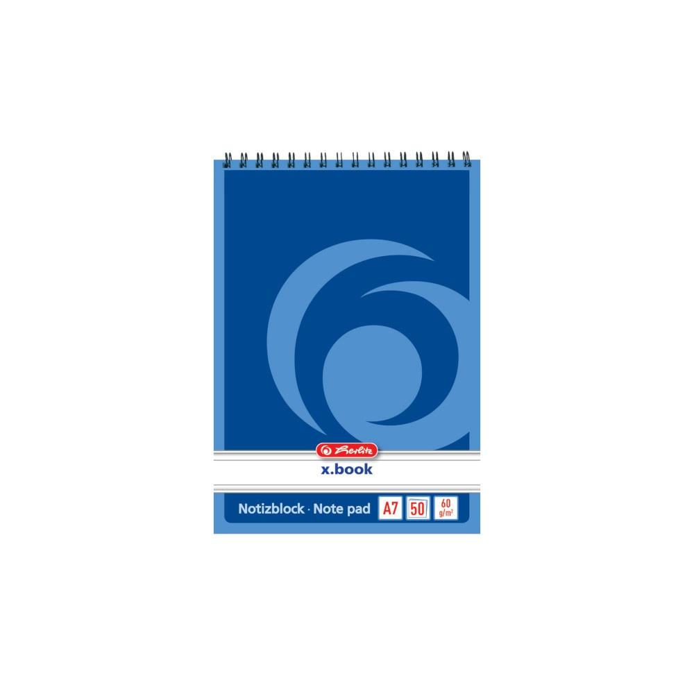 Herlitz Spiralnotiblock A7 liniert 50 Blatt