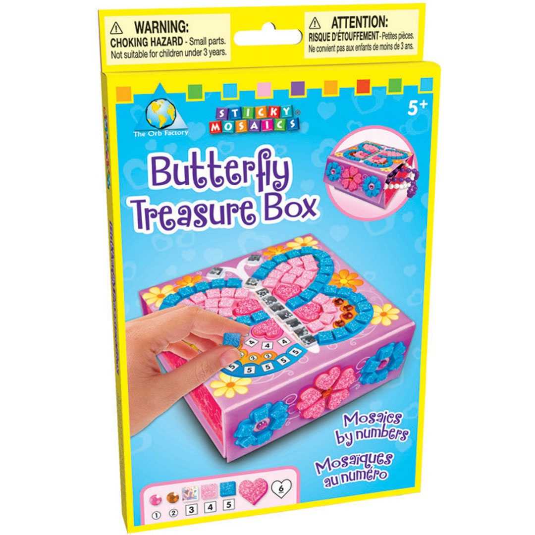 Bastelset Sticky Mosaics Butterfly Schatzkästchen