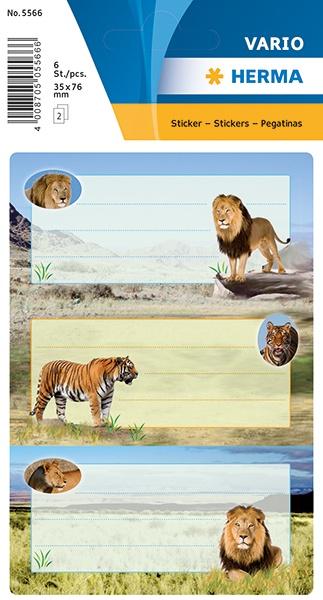 Herma Buch-Etiketten Raubkatzen mit Glimmer