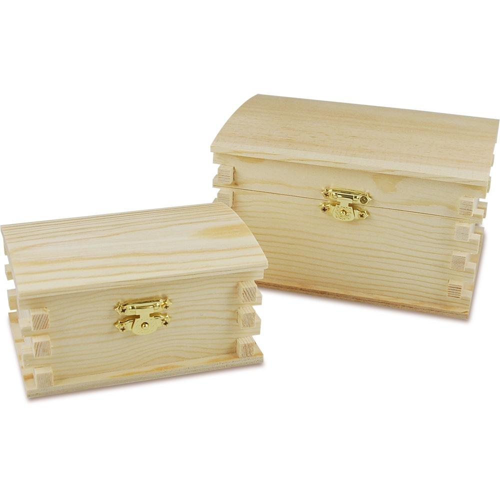 Bastelmaterial Holz Balkentruhe 2 Stück
