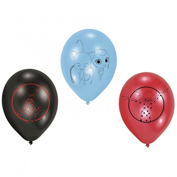 Latex-Luftballons Miraculous 6 Stück