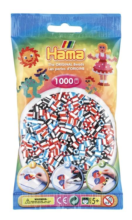 Hama Bügelperlen 1000 Stück weiß gestreift